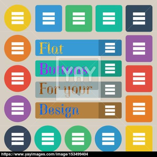 List Menu, App Icon Sign Set Of Twenty Colored Flat, Round