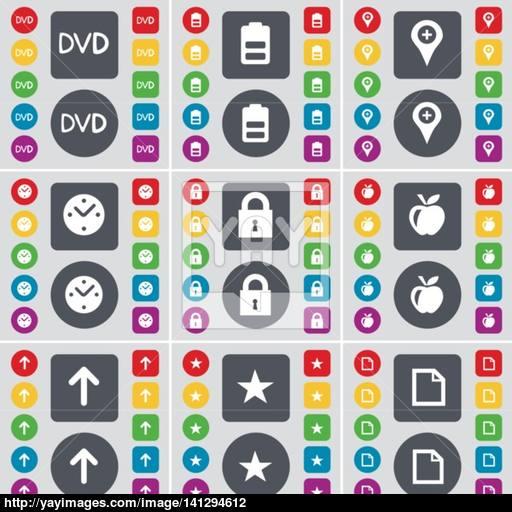 Dvd, Battery, Checkpoint, Clock, Lock, Apple, Arrow, Star