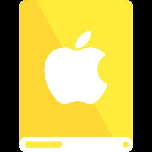 Drive, Apple, Yellow, White Icon