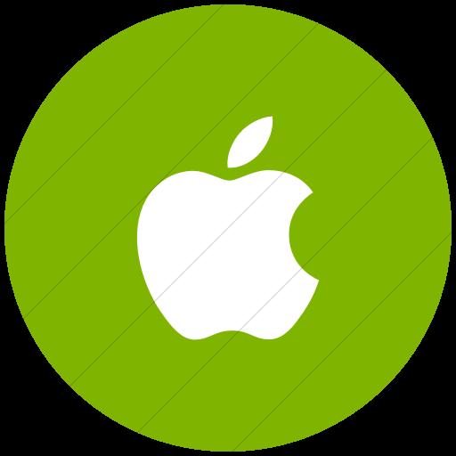 Flat Circle White On Green Social Media Apple Icon