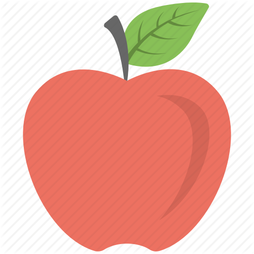 Apple, Apple With Leaf, Fresh Apple, Fruit, Red Apple Icon