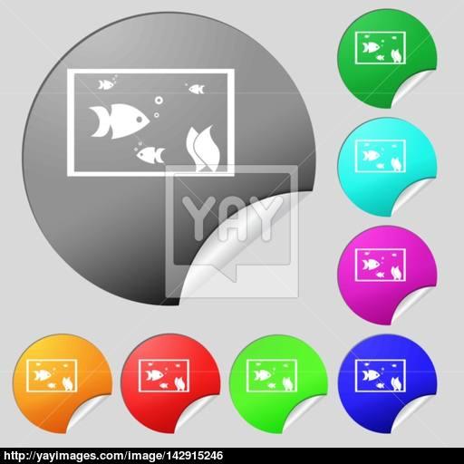 Aquarium, Fish In Water Icon Sign Set Of Eight Multi Colored