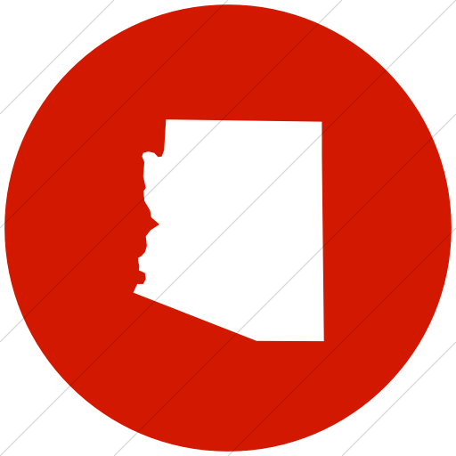 Flat Circle White On Red Us States Arizona Icon
