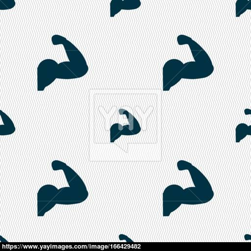 Biceps Strong Arm Muscle Icon Sign Seamless Pattern