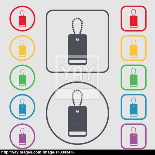 Army Chains Icon Sign Symbols On The Round And Square Buttons