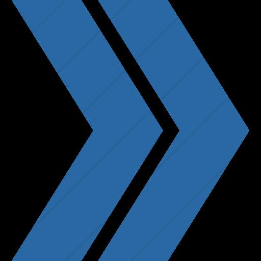 Simple Blue Classic Arrows Double Chevron Right Icon