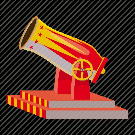 Artillery, Ball, Battle, Cartoon, Circus, Circus Cannon, Logo Icon