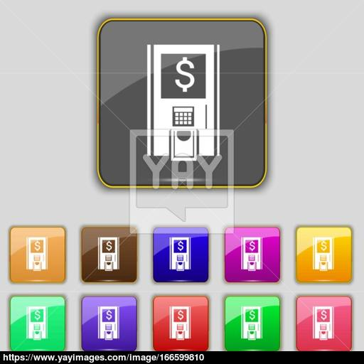Atm Icon Sign Set With Eleven Colored Buttons For Your Site