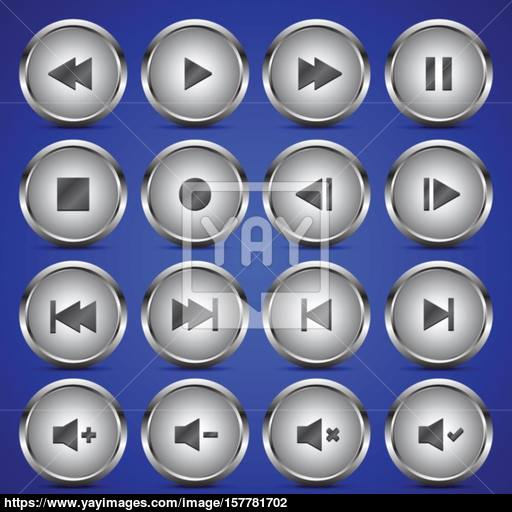 Metallic Media Player Audio Video Icon Circle Button Vector