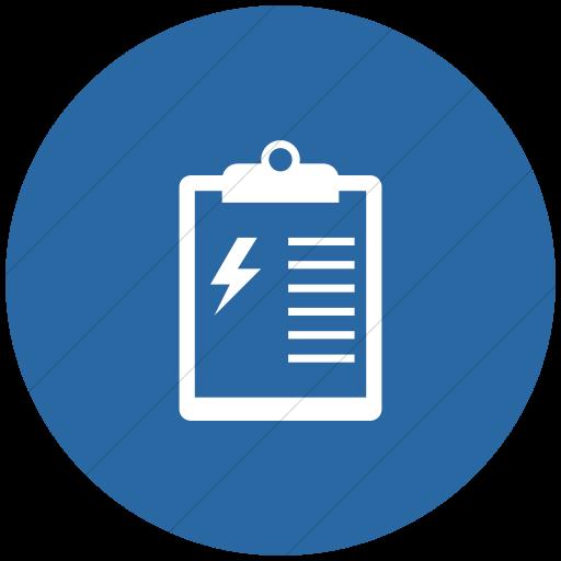 Flat Circle White On Blue Iconathon Energy Audit Icon
