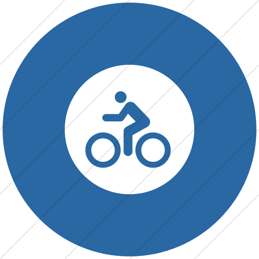 Flat Circle White On Blue Iconathon Bike Path Icon