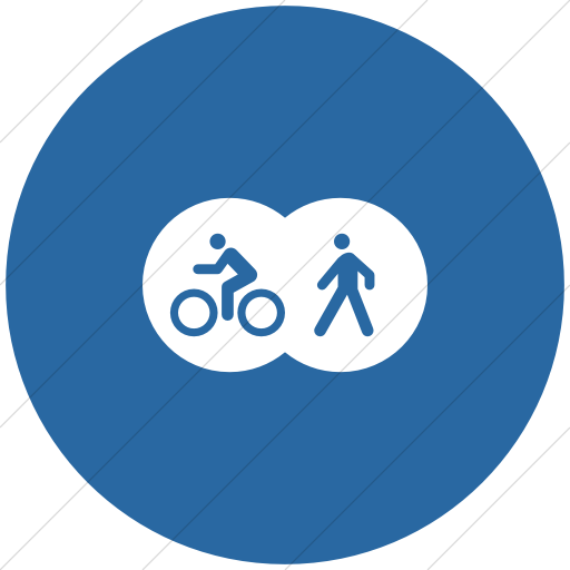 Flat Circle White On Blue Iconathon Shared Bike Path Icon
