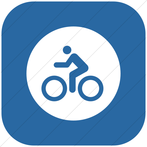 Flat Rounded Square White On Blue Iconathon Bike Path Icon