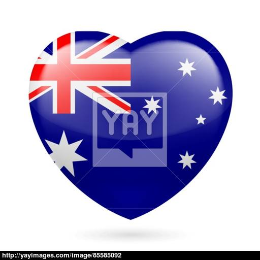 Heart Icon Of Australia Vector