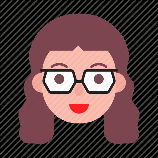 Avatar, Face, Girl, Glasses, Nerd, Profile Icon