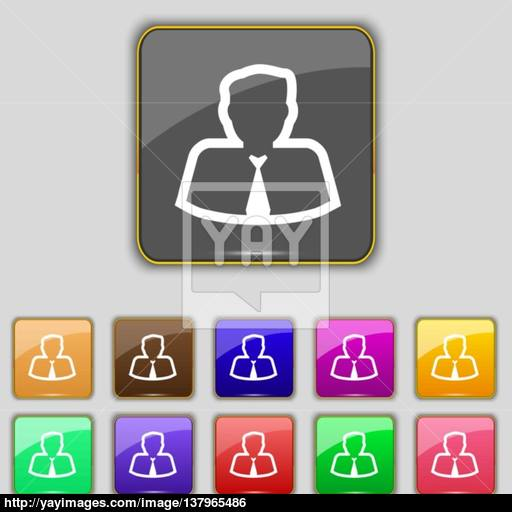 Avatar Icon Sign Set With Eleven Colored Buttons For Your Site