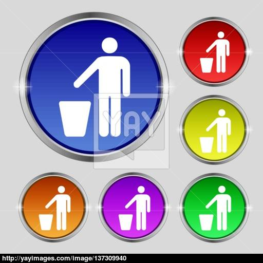 Throw Away The Trash Icon Sign Round Symbol On Bright Colourful