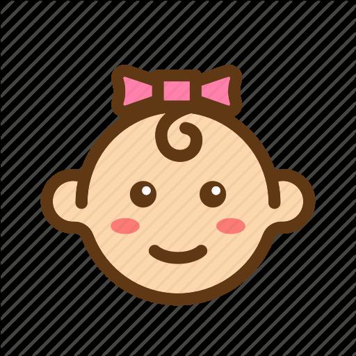 Baby, Babyface, Color, Face, Girls, Newborn, Ribbon Icon