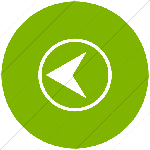 Flat Circle White On Green Classica Back Button Icon