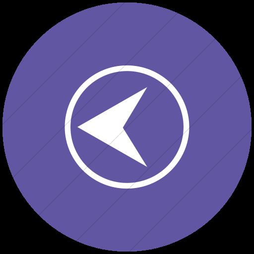 Flat Circle White On Purple Classica Back Button Icon
