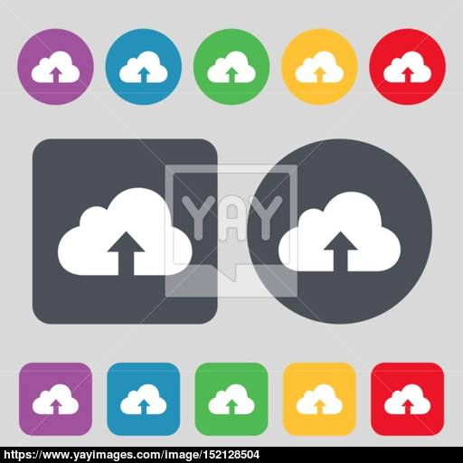 Backup Icon Sign A Set Of Colored Buttons Flat Design Vector