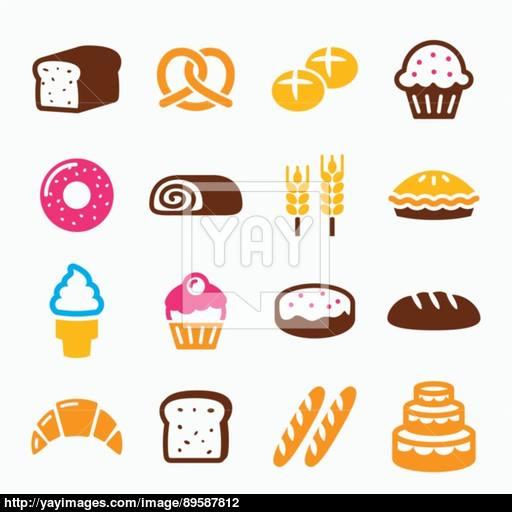 Bakery, Pastry Icon Set
