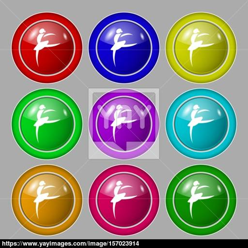 Dance Girl Ballet, Ballerina Icon Sign Symbol On Nine Round