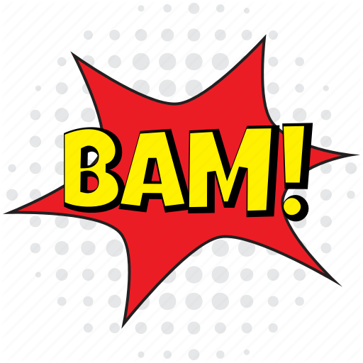 Bam, Bam Comic, Bam Comic Bubble, Bam Speech Bubble, Crack Bubble Icon