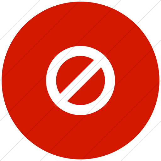 Flat Circle White On Red Bootstrap Font Awesome Ban Icon
