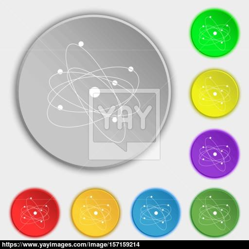 Physics, Atom, Big Bang Icon Sign Symbol On Eight Flat Buttons