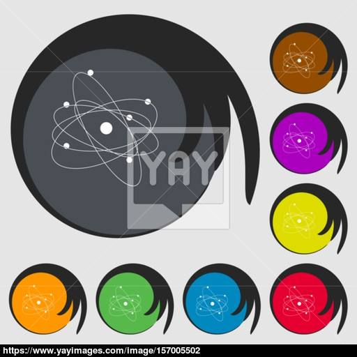 Physics, Atom, Big Bang Icon Symbols On Eight Colored Buttons