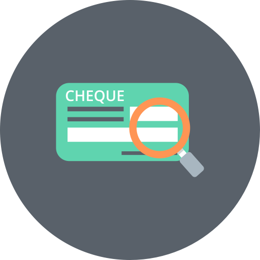 Cheque, Magnifier, Explore, Cash, Check, Finance, Banking Icon