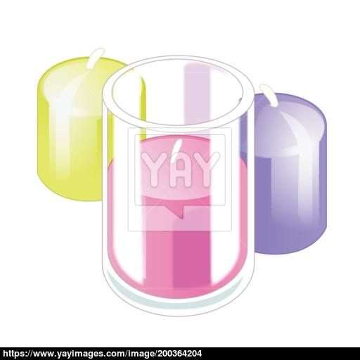 Three Bright Colorful Candles Isolated On White Background Vector