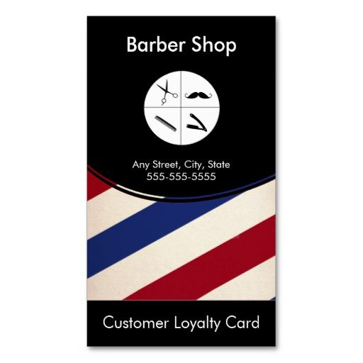 Barber Shop Loyalty Business Card Punch Card Barber