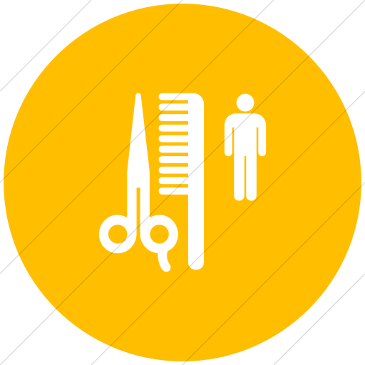 Flat Circle White On Yellow Aiga Barber Shop Icon