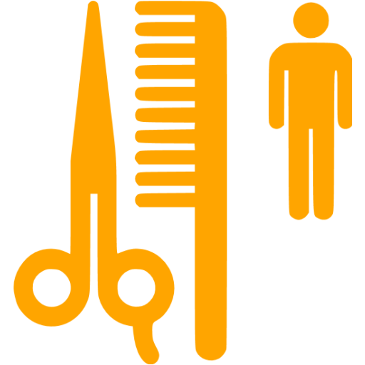 Orange Barber Shop Icon