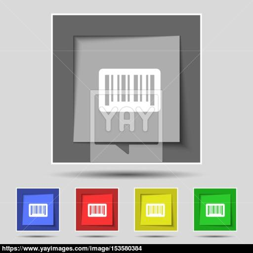 Barcode Icon Sign On Original Five Colored Buttons Vector Vector