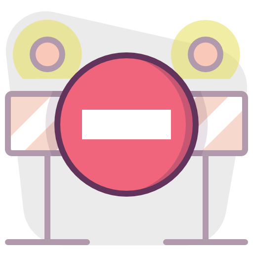 Construction, Protection, Non, Stop, Sign, Barrier Icon Free