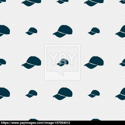 Baseball Cap Icon Sign Seamless Pattern With Geometric Texture