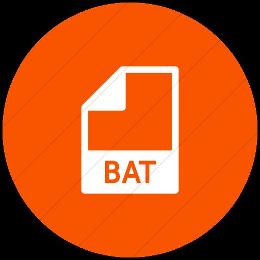 Flat Circle White On Orange Mime Types Document Bat Icon