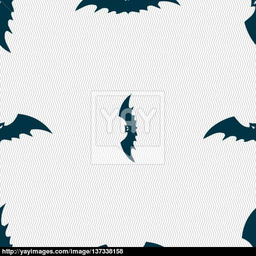 Bat Icon Sign Seamless Pattern With Geometric Texture Vector