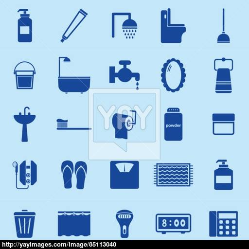 Bathroom Color Icons On Blue Background Vector
