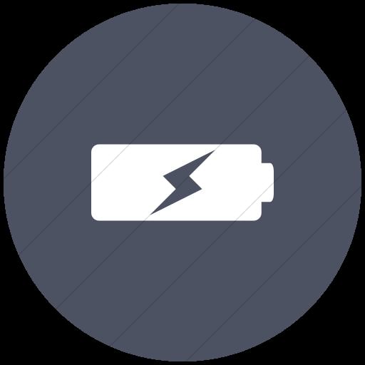 Flat Circle White On Blue Gray Raphael Battery Charging