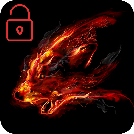 Fire Wolf Red Clock With Flame Locker Screen Theme Download