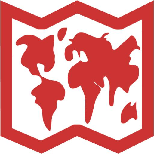 Persian Red World Map Icon