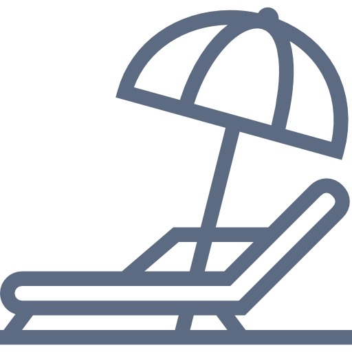 Grey, Beach, Chair, And, Umbrella Icon Free Of Hotel And Spa Icons