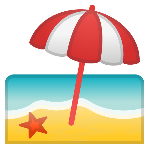 Beach With Umbrella Icon Noto Emoji Travel Places Iconset Google