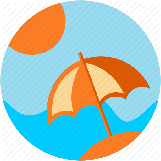 Activities, Beach, Parasol, Recreational, Sea, Sun, Waves Icon