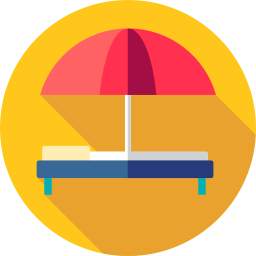Holidays, Summer, Vacations, Hammock, Sun Umbrella Icon