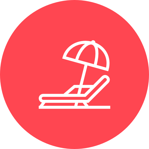 Red, Beach, Chair, And, Umbrella Icon Free Of Hotel And Spa Icons
